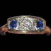 SALE Art Deco 14K Diamond Sapphire Ring Estate
