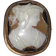 REDUCED Fine Carved Shell Cameo Demeter