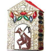 REDUCED Vintage Doghouse Brooch Enamel