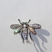 REDUCED Vintage Sterling Paste Dragonfly Or Bug Pin