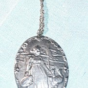 REDUCED Large Sterling Dutch Girl pendant