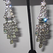 Vintage Rhinestone Earrings Long Drops