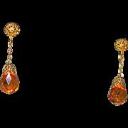 Vintage Golden Crystal Drop Earrings Filigree