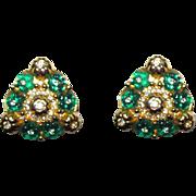 Gorgeous Glass Rhinestone Clip Earrings Green Flowers