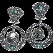 REDUCED Art Deco Silver Egyptian Revival Earrings