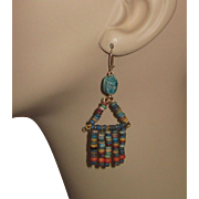 REDUCED Vintage Egyptian Mummy Beads Earrings