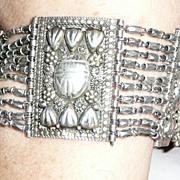 REDUCED Art Deco Silver Egyptian Revival Scarab Bracelet