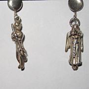 REDUCED Vintage Ella L. Cone Devil and Angel Sterling Earrings