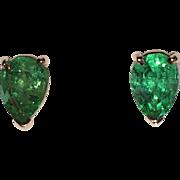 REDUCED Estate Fine Natural Emerald Stud Earrings 14K