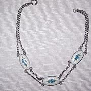 SALE Vintage Sterling Enamel Bracelet Flowers