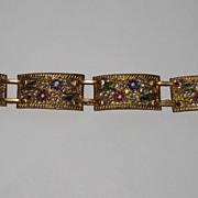 SALE Vintage Gilt Filigree Panel Bracelet Enamel Flowers