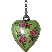 REDUCED Vintage Enamel Puffy Heart Sterling Germany Charm on Matching Enamel Station Necklace