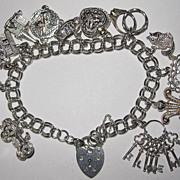 SALE Vintage Sterling English Charm Bracelet