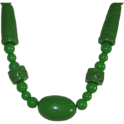 SALE Vintage Carved Lucite Faux Jade Necklace Beads