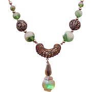 Filigree Green Artglass Necklace Circa 1930