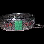 Art Deco Filigree Peking Glass Enamel Hinged Bangle Bracelet