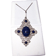 REDUCED Sterling Silver Lapis Filigree Pendant
