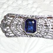 SALE PENDING Vintage Filigree Pin Sterling Blue Stone