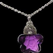 Vintage Filigree Silver Purple Crystal Pendant