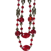 SALE 60 Inches Red Flapper Glass Beads Necklace