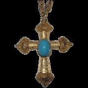 REDUCED Florenza Signed Large Cross Pendant