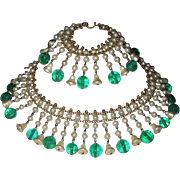SALE Vintage Gorgeous Glass Pearls Emerald Beads Fringe Necklace Bracelet