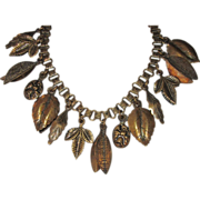 Vintage Brass Fringe Necklace Leaves