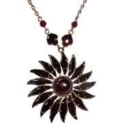 SALE Vintage Garnet Glass Pendant Wonderful