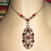 SALE Arts & Crafts  Sterling Garnet Pendant