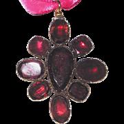Georgian Garnet Pendant Brooch Large