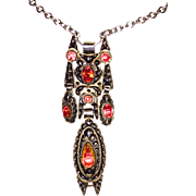 REDUCED Georgian Foiled Topaz Silver Pendant Stomacher Large