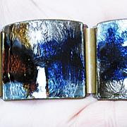 REDUCED Glossy Foiled German Wide Enamel Bracelet