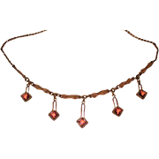 Vintage Gold Fill Necklace Pink Drops