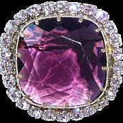Large Purple Glass Brooch Rhinestones