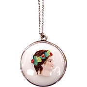 REDUCED Vintage Painted Glass Pendant Cameo
