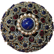Round Domed Vintage Pin Art Glass