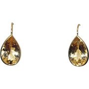 14k Gold Pear Shaped Citrine Drop Earrings