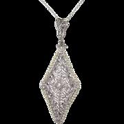 REDUCED Art Deco 14K White Gold Filigree Diamond Pendant Necklace Perfect for Bride!