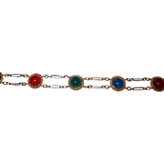 SALE Gold Filled Bracelet Chalcedony, Carnelian and Green Onyx