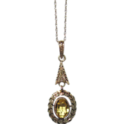 REDUCED Gold Lavaliere Citrine Delicate