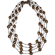 REDUCED Gorgeous Vintage 4 Strands Gold Beads Necklace Runway