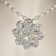 REDUCED Large Brooch / Pendant Crystals Rhinestones Fit for a Bride