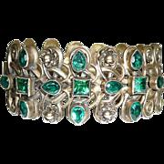 REDUCED Gorgeous Vintage Green Rhinestone Cuff Bracelet Brass