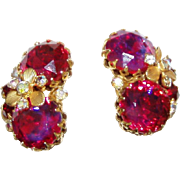 Gorgeous Designer Deep Pink Rhinestone Earrings