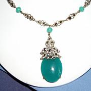 REDUCED Art Deco Czechoslovakian Peking Glass Necklace