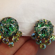 Very Pretty Green Foiled Artglass Clip Earrings