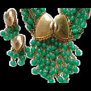 SALE PENDING Parure Necklace Brooch Earrings Green Glass