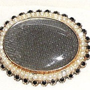 SALE Victorian Memorial 14K  Pearls Jet Woven Hair Brooch