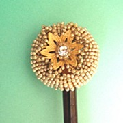 Vintage Fine Beaded Wood Hair Stick