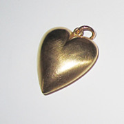 SALE 14K Large Puffy Heart Pendant or Charm